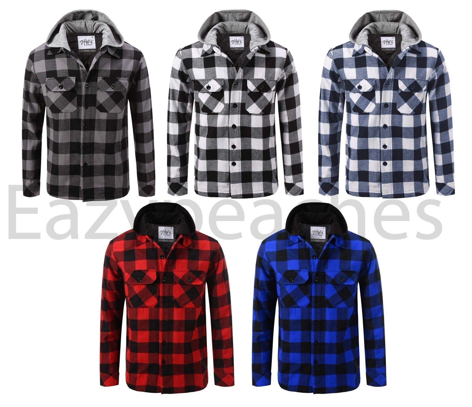 SHAKA WEAR Men's Hooded Sweatshirt, Flannel Jacket, Shirt, Lined Hoody, S 5XL