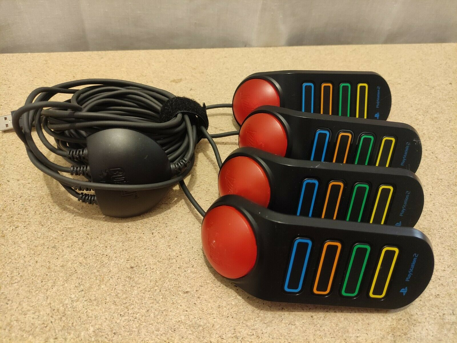 PS2 Buzz Controllers Wired Buzzers X 4 Playstation 2 3 Compatible Tested (#8)