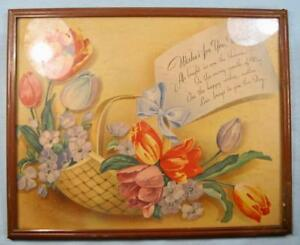 Wishes-For-You-Mother-Mothers-Day-Print-Flower-Basket-Framed-Colorful-Mom-O