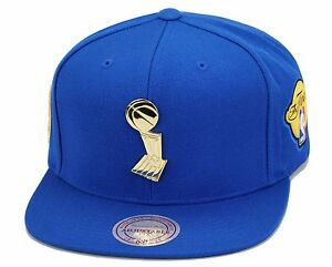 Mitchell & Ness Golden State Warriors Snapback Hat All ROYAL/Trophy/2015 Finals | eBay