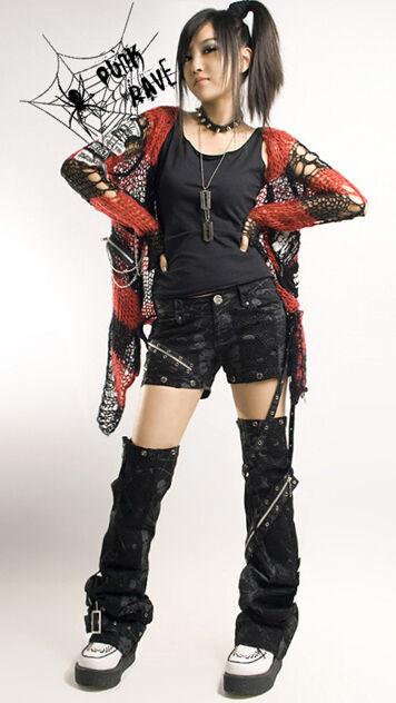 New sexy visual kei PUNK gothic Black classic rock removalbe pants S M L XL XXL