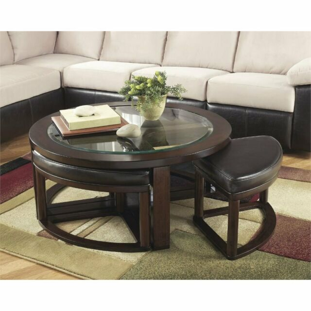 Incredible Ashley Furniture Marion Coffee Table With 4 Stools In Dark Brown Onthecornerstone Fun Painted Chair Ideas Images Onthecornerstoneorg
