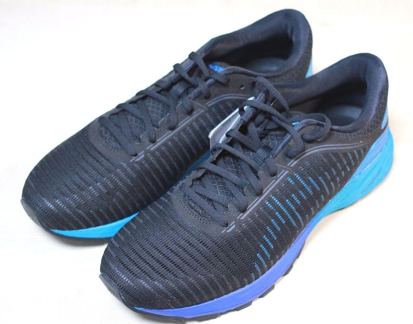 ASICS nuevo para hombre DynaFlyte 2 Road Zapatillas Para Correr Negro Azul Isla Auténtico