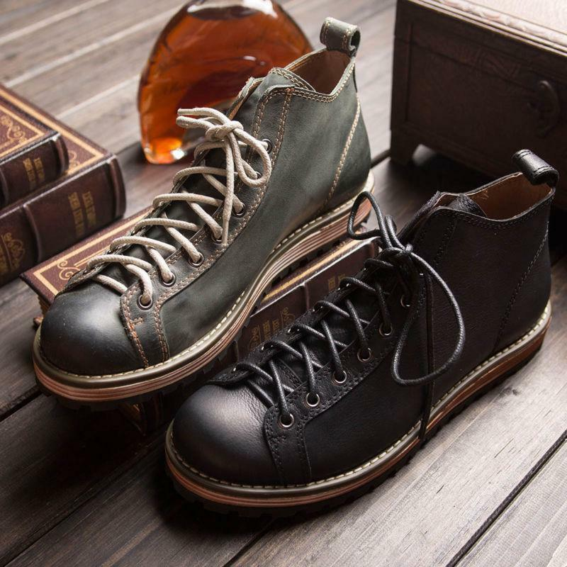 Men Round Toe Lace Up British Oxford Leather Work Retro Shoes Ankle Boots 2Color