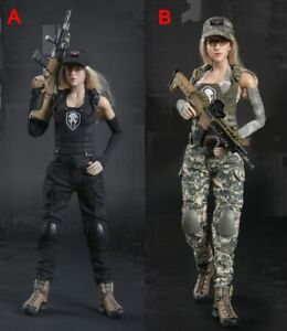 1//6 Scale Military Style Summer Outfit Female Kryptek Camo Mesh Crop Top Sand