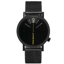 "Projects Watches ""Past, Present, Future Black Mesh"" IP Inox Steel Unisex Watch"