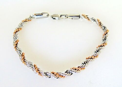 Women/'s Stainless Steel Rope /& Rose  Gold Plated Bracelet 7.5 inches