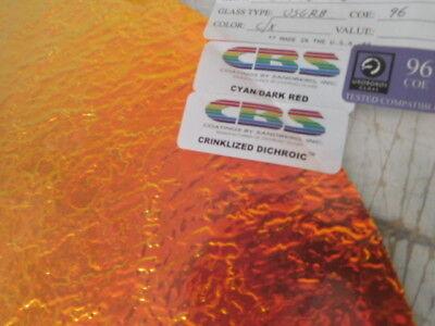 "Dichroic Glass:CBS 96 COE Cyan//Dark Red /""Crinklized/"" on Flat Clear  3/"" Sq"