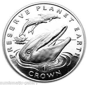 GIBRALTAR-1-CROWN-1994-BU-STRIPED-DOLPHINS-PRESERVE-PLANET-EARTH