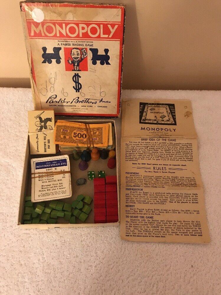 Vintage Parker Bros Monopoly 1936 Incomplete Set