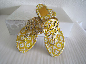 62e9bf13b Image is loading Tory-Burch-Miller-Yellow-White-Multicolor-Patent-Leather-