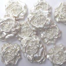 12 WHITE PEARL ROSE Commestibile Pasta di zucchero FIORI wedding cake di zucchero decorazioni