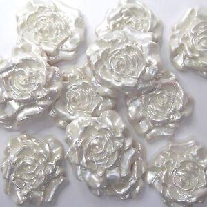 12 Blanc Rose 3D Fleurs comestibles gâteau Toppers gâteau de mariage décoration