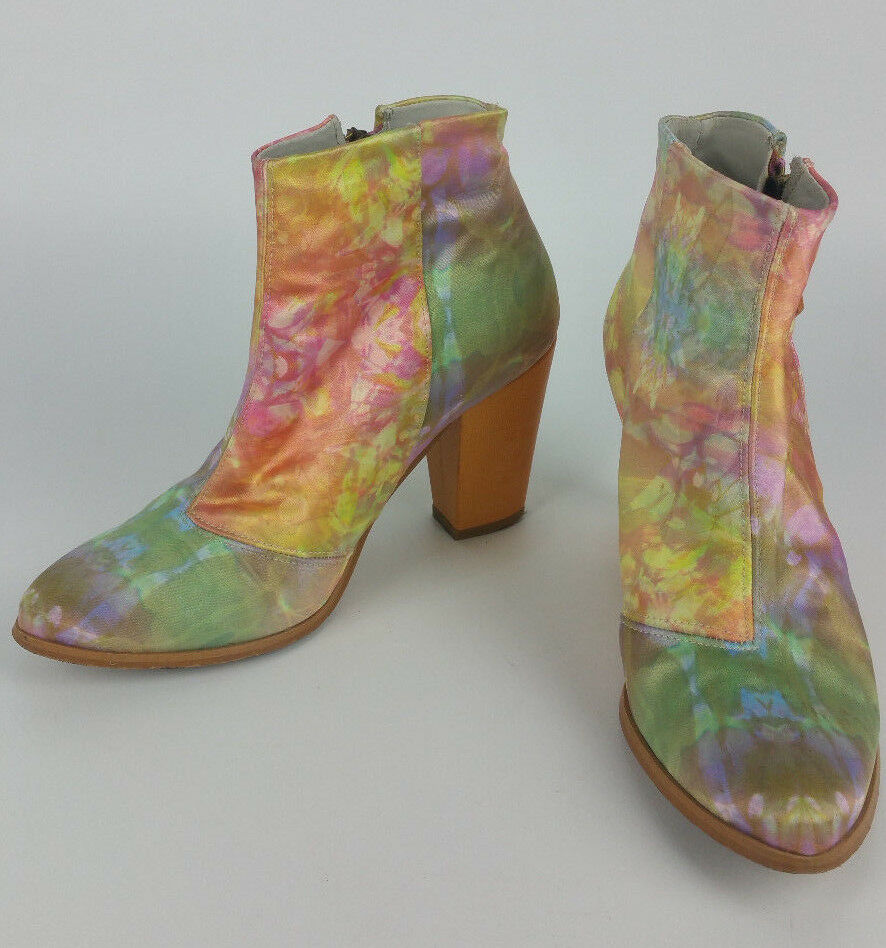 Miista Free People Flower Satin Floral Flower People Leder Heel Ankle Stiefel sz 36 Made Spain 0833d9