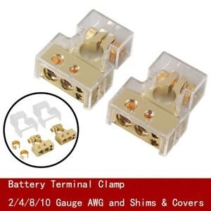 2x Car Battery Terminal Clamp Post 2 4 8/10 AWG Gauge Positive Negative & Cover