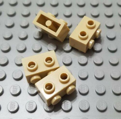 LEGO Lot of 4 Tan 1x2 Bricks with Studs on 1 Side