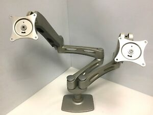 Details About Ergotron Dual Monitor Arm Desk Mount, Staggered 7 And 6 Axis  Arms Silver