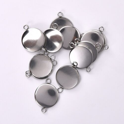 10pcs Double Loop Connector Round Cabochon Tray Base Bezel Setting DIY Supplies