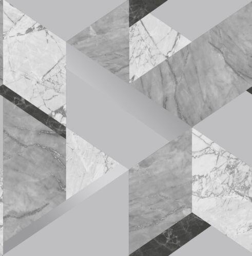 Fine Decor Marblesque Geo Geometric Wallpaper Grey Metallic  FD42302