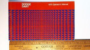 1975-DODGE-Dart-Original-Owner-039-s-Manual-Excellent-Condition-US