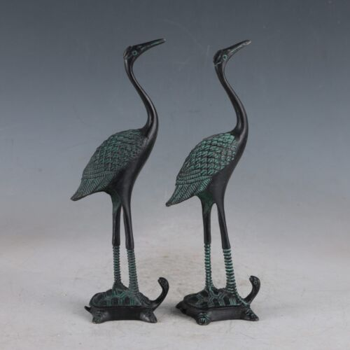 Chinese  Bronze Crane /& Tortoise Exquisite Statue