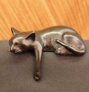 Signed-Desk-Top-Adorable-Cat-Bronze-Sculpture-Real-Hot-Cast-Figurine-Lost-Wax-NR