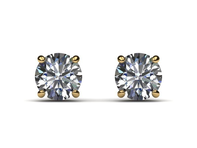 5 CTS H VS2 NATURAL ROUND CUT DIAMOND STUD EARRINGS 14K YELLOW gold ENHANCED