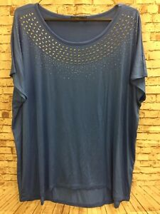 Details about Womens DESIGN HISTORY Sapphire Blue Embellished Silver Geometric Short Sleeve 1X