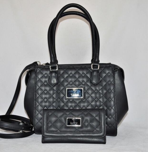 e2c2c1a88407 GUESS Crystal River Bag Purse Handbag Satchel Tote Sac Quilted Wallet Set  New