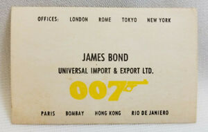 edec61309 James Bond 007 Universal Import & Export Ltd Vintage Toy Business ...