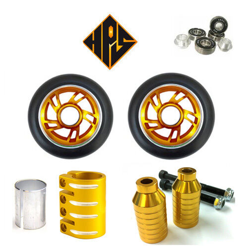 oro SET STUNT SCOOTER METAL CORE WHEELS 100mm ABEC  11 BEARING PEGS QUAD CLAMP  Obtén lo ultimo