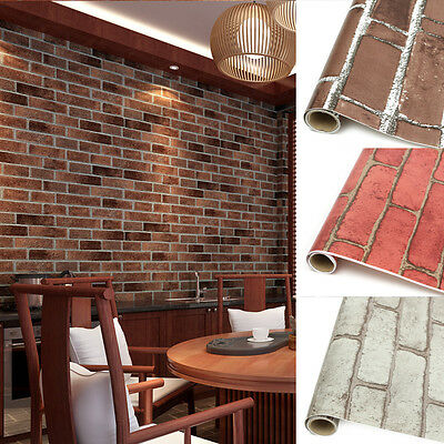 1/5Roll 3D Vintage Embossed Stone Brick Effect Vinyl Paper Background Wall Decor