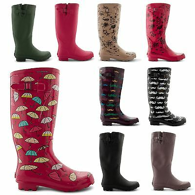 NEW LADIES WELLINGTONS FESTIVAL WINTER SNOW RAIN WELLIES RUBBER BOOTS UK 3-8
