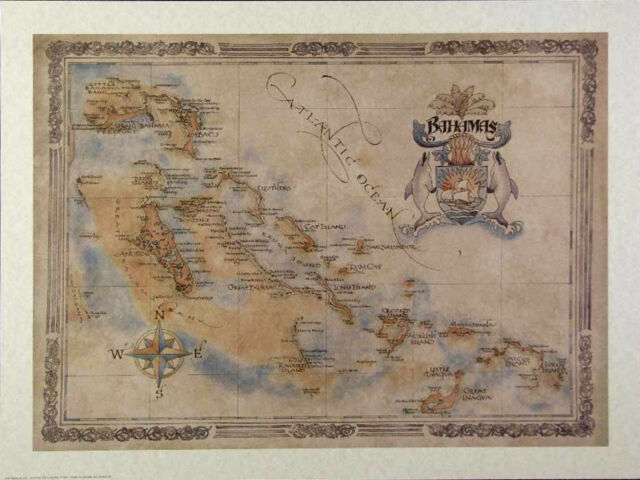 Antique style  BAHAMAS MAP