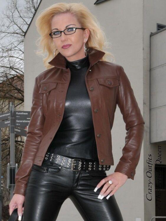 Chaqueta de cuero chaqueta de cuero marrón  jeans estilo costuras vistas tamaño 32 - 58 XS-XXXL  A la venta con descuento del 70%.