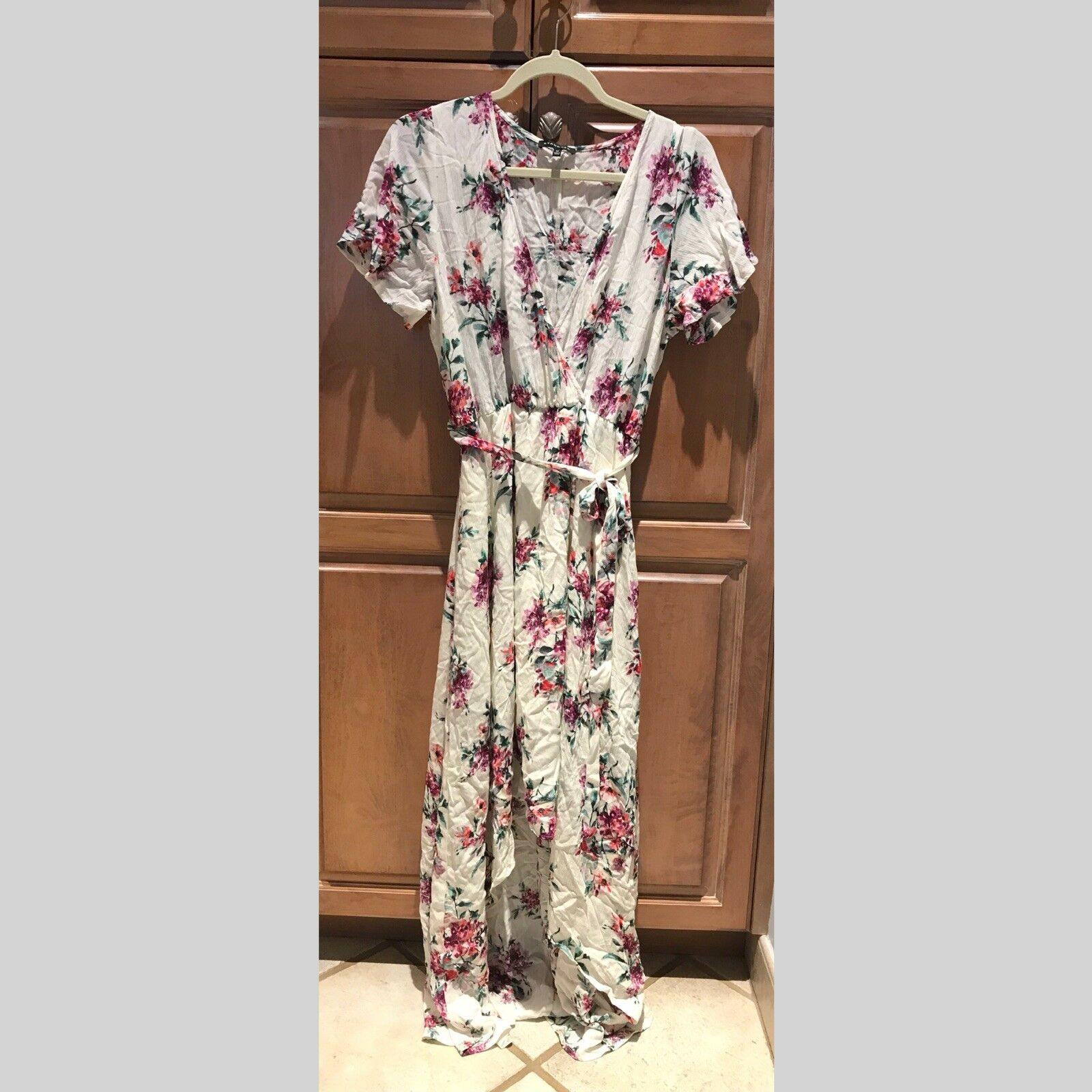Staccato Floral Tie Waist High Low Dress Size M