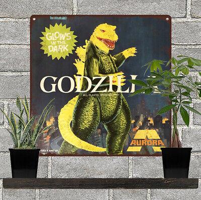 "Aurora Godzilla Glow in the dark model Garage Man Cave Metal Sign 12x12/"" 60762"