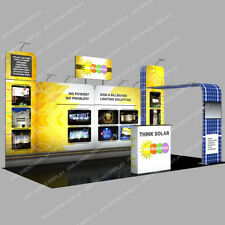 20ft Tension Fabric Trade Show Displays Booth Set With Counter Lights Tv Stand