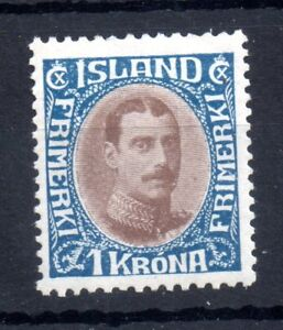 Iceland-1920-1kr-brown-and-blue-mint-LHM-SG129-SC126-WS11305