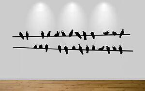 Aves-en-una-pared-de-cables-Adhesivo-Etiqueta-de-pared-del-dormitorio-de-arte