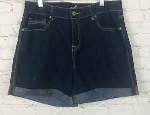One-5-One-Blue-Jean-Shorts-Womens-Sz-10-Dark-Wash-Cuffed