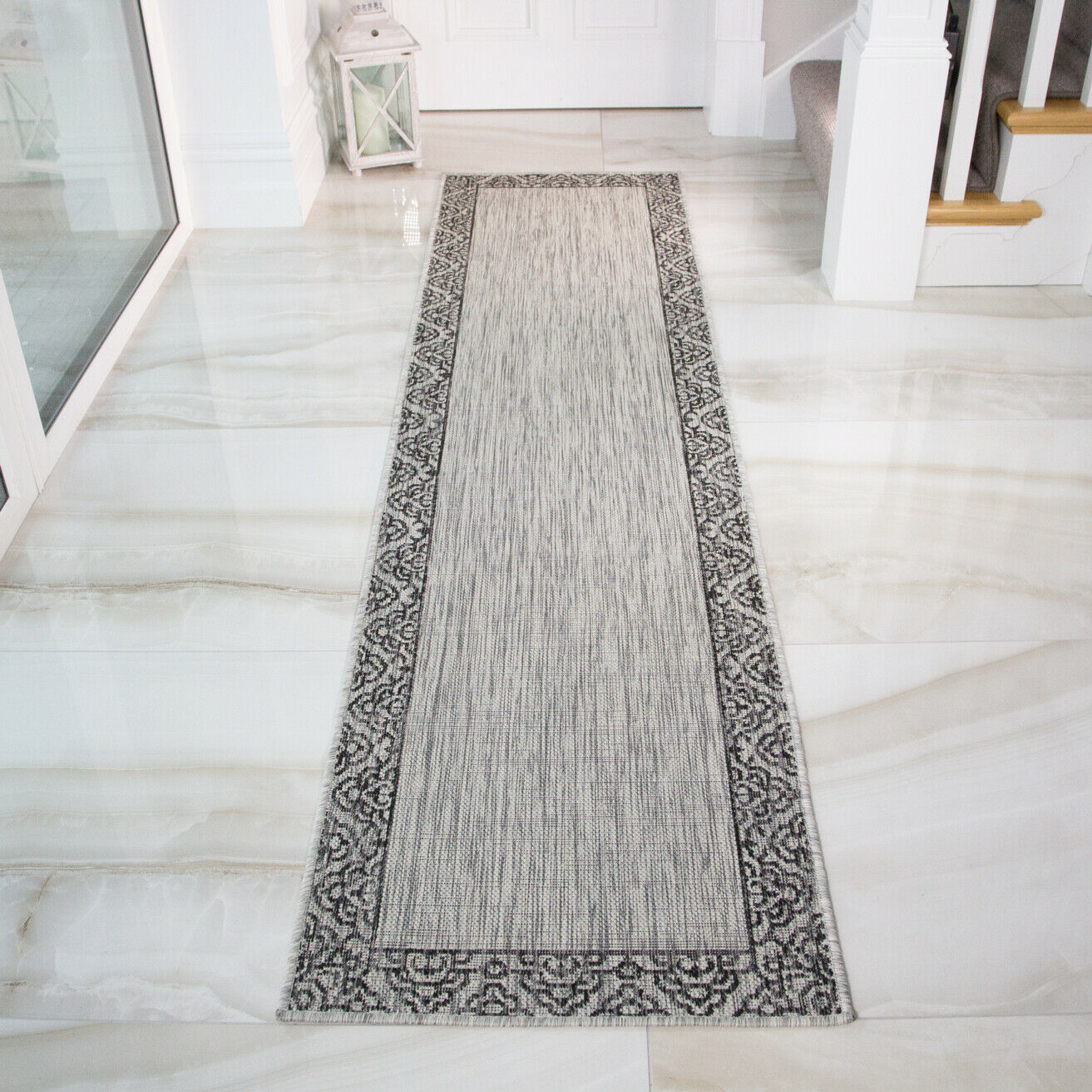 Borderot grau Taupe Borderot Runner Flatweave Indoor Outdoor Hallway Runners Rug