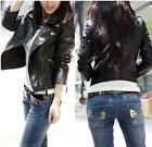 Slim Fit Women New Black Biker Motorcycle PU Leather Zipper Jacket Coat BS
