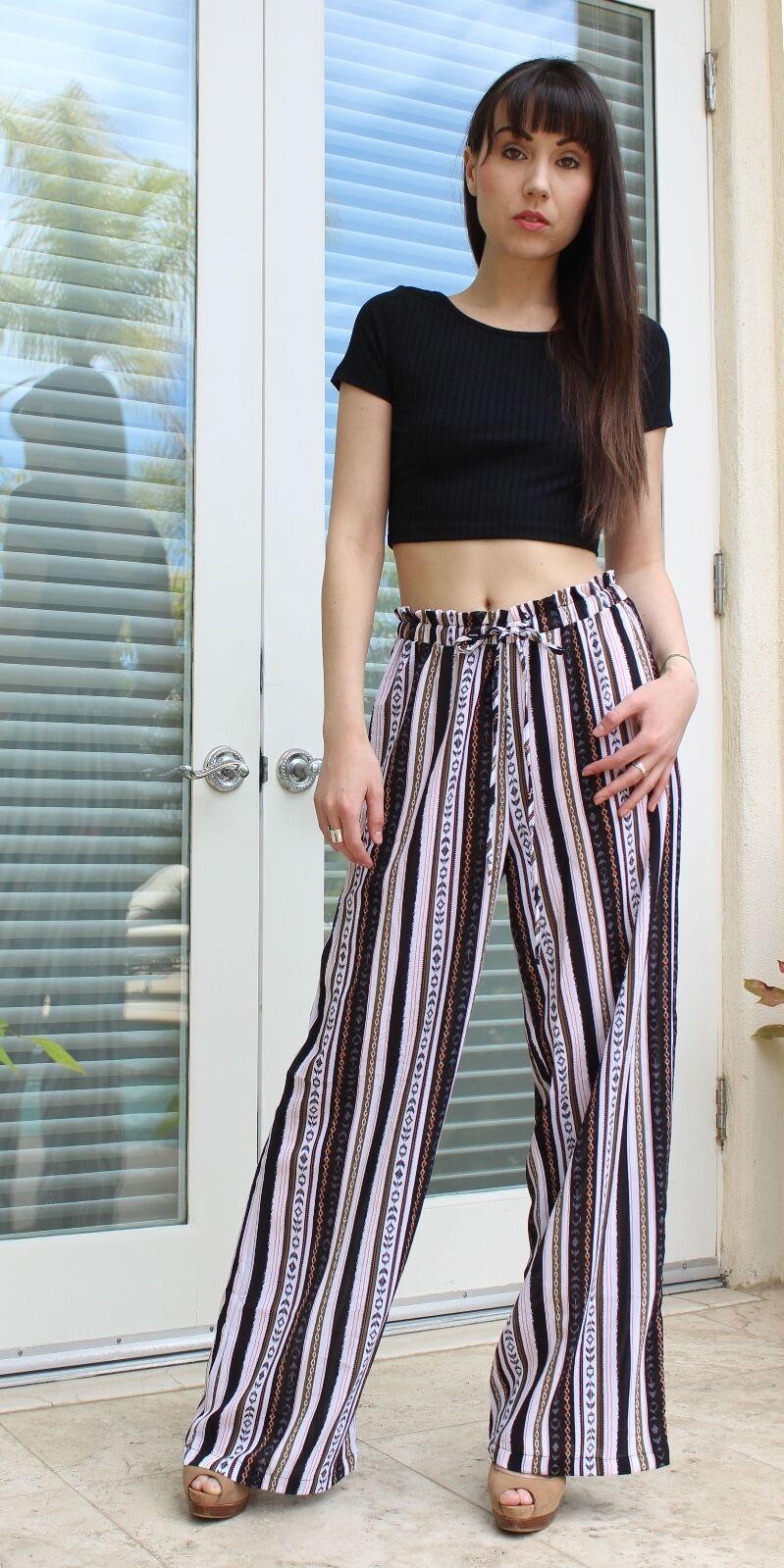 SAVE  20 EXTRA Aztec Print Casual Pants   Wide Leg S M L Lola Y5083
