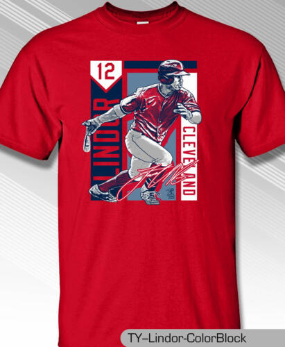 Cleveland Indians MLBPA Francisco Lindor Color Block Youth Boys Tee Shirt Red