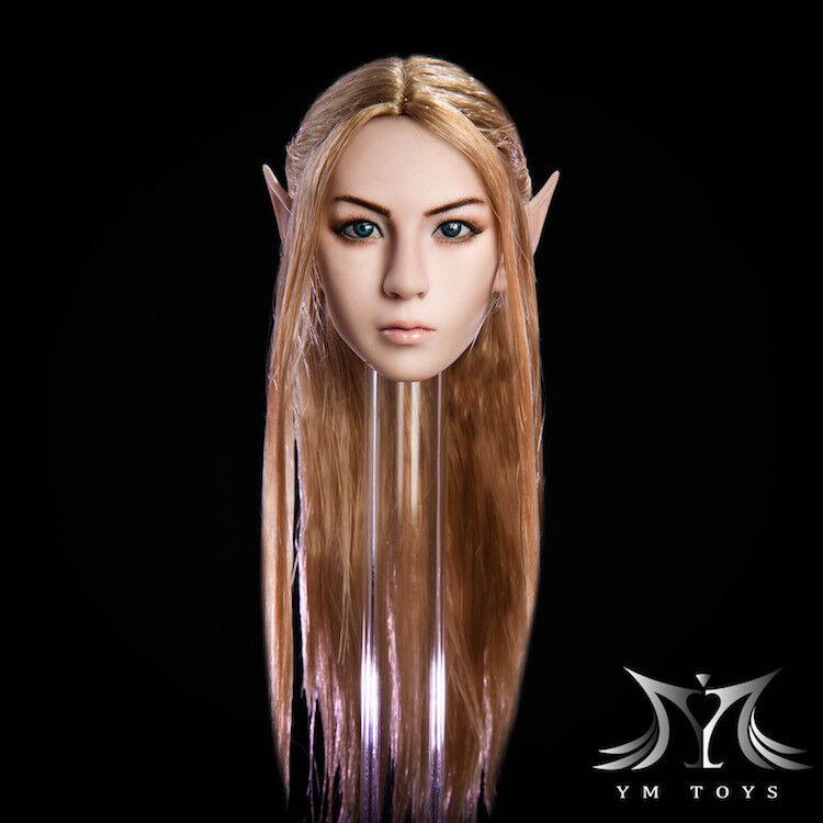 YMtoys YMT09A 1 6 Elf Girl Head Carved Blonde Hair Detachable Ears F Female Doll