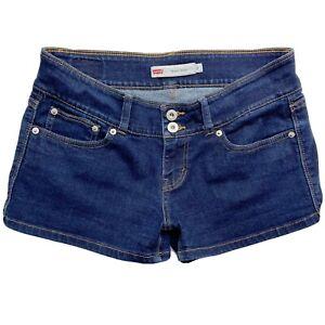 Levis Womens Sz 9 Shorty Shorts Dark Wash Stretch Denim Jean