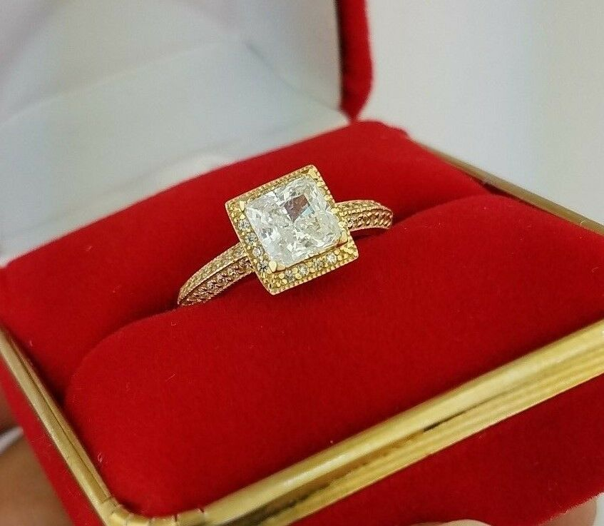 Solid 14k Yellow gold 1.5 CT Princess Cut Diamond Engagement Wedding Ring Bridal