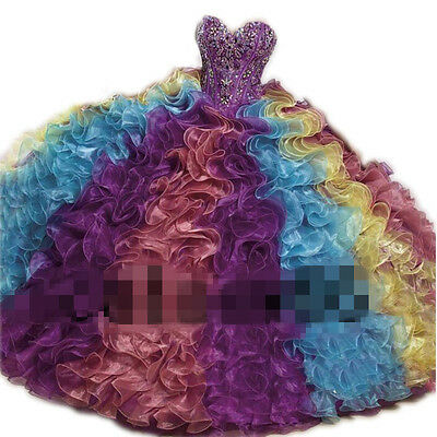 Mixed Color Multicolor Ball Gown Prom Quinceanera Dresses 2017 New Pageant Dress