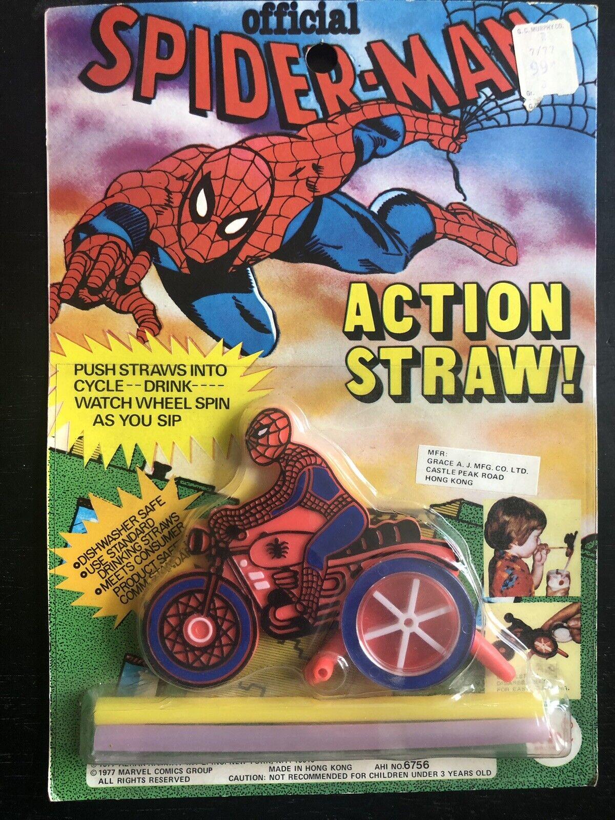 RARE OFFICIAL SPIDER-MAN Wirkung STRAW 1977 AHI Marvel Comics Group Azrak Hamway